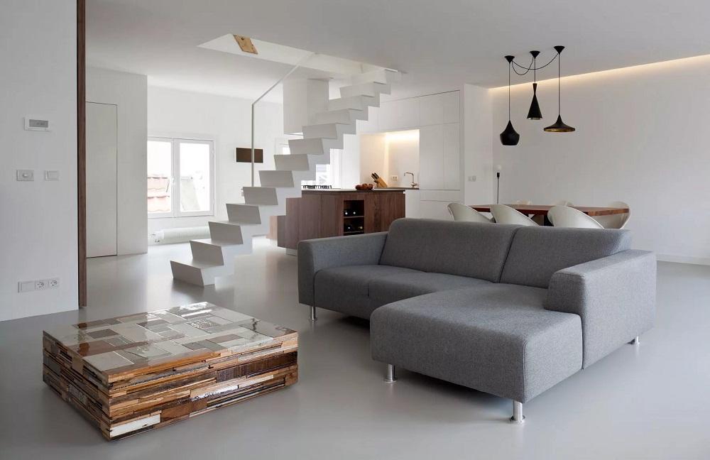 Мебель в двухуровневой квартир в стиле хай-тек