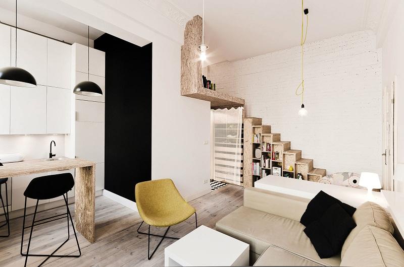 Мебель в интерьере двухуровневой квартиры в стиле лофт