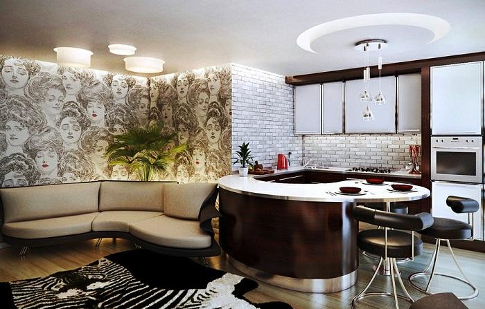 Меблировка кухни совмещенной с гостиной