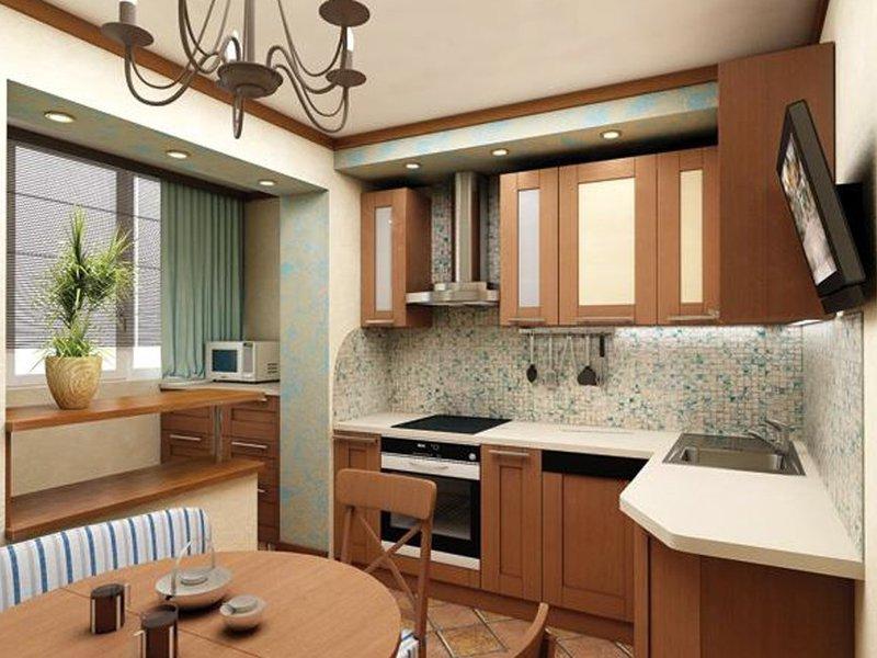 Меблировка кухни с балконом