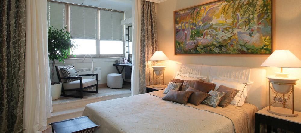 Место для сна в объединенной гостиной-спальне