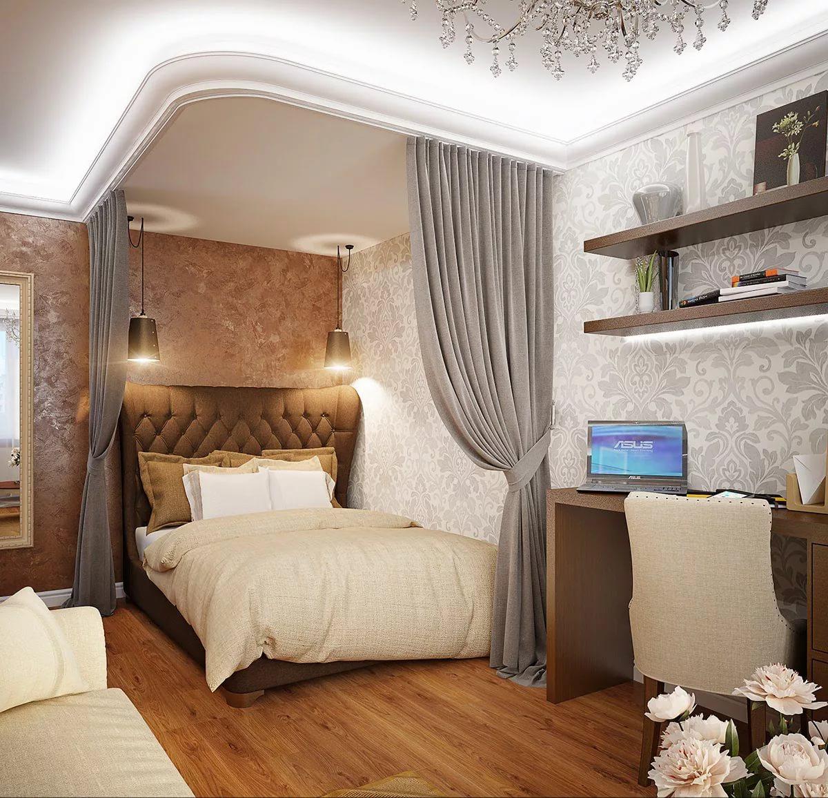 Многоуровневые потолки для зонирования гостиной-спальни