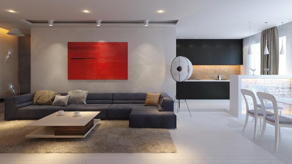 Мягкая мебель в гостиной 20 кв.м стиль минимализм