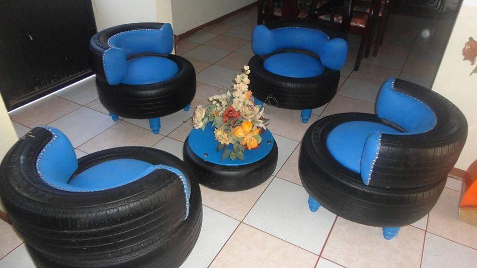 Мягкая мебель из автомобильных шин