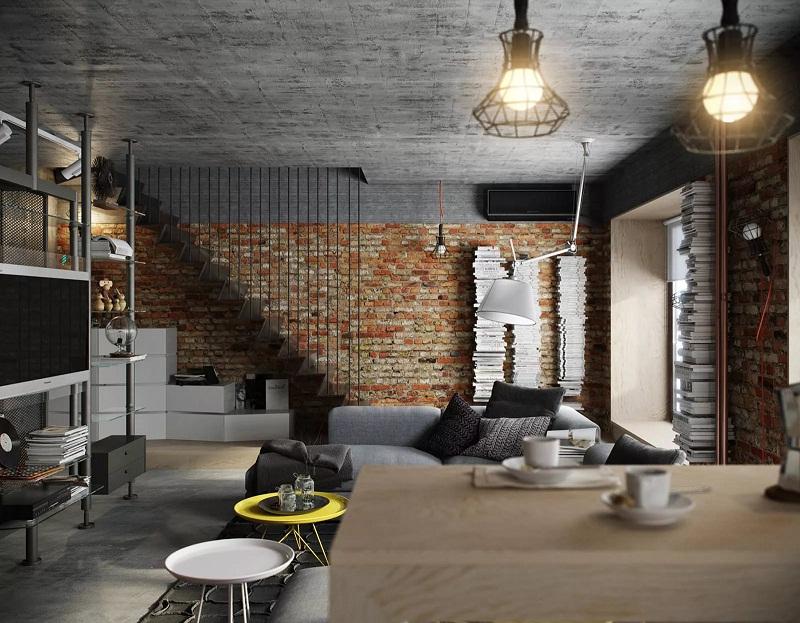 Натуралистичная отделка двухуровневой квартиры в стиле лофт