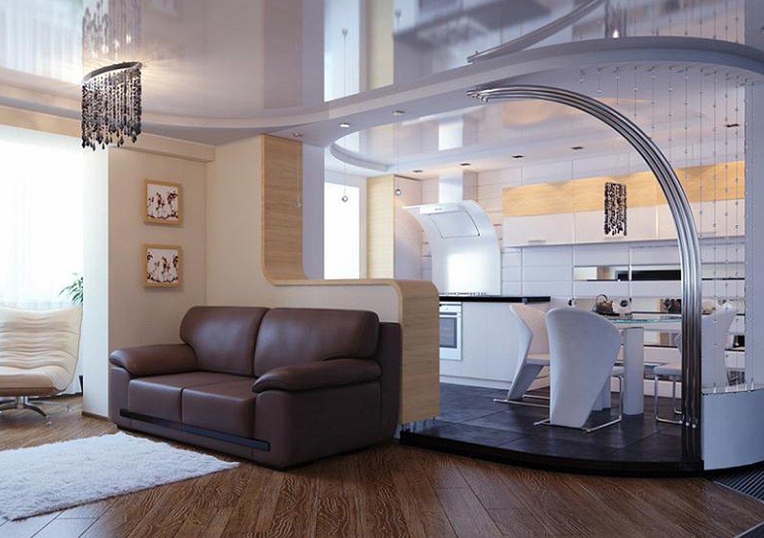 Натяжные потолки на кухне в двухкомнатной квартире