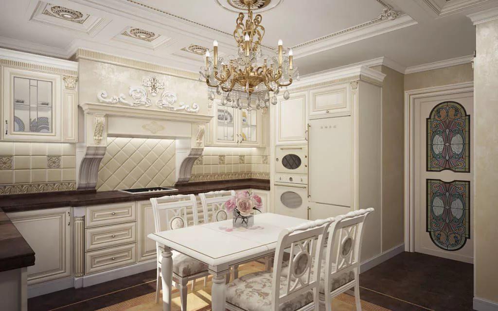 Неоклассика в дизайне кухни 9 кв. м.