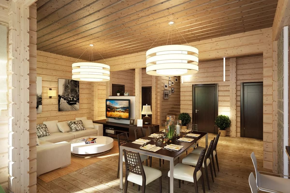 Обеденная зона в деревянном доме