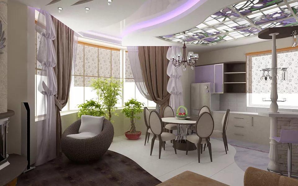 Объединение гостиной с кухней