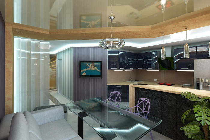 Объединение кухни 12 кв.м. в однокомнатной квартире