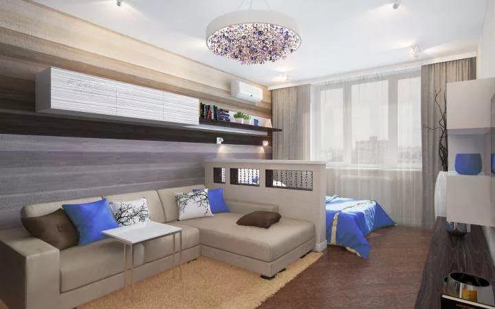 Объединяющее зонирование однокомнатной квартиры