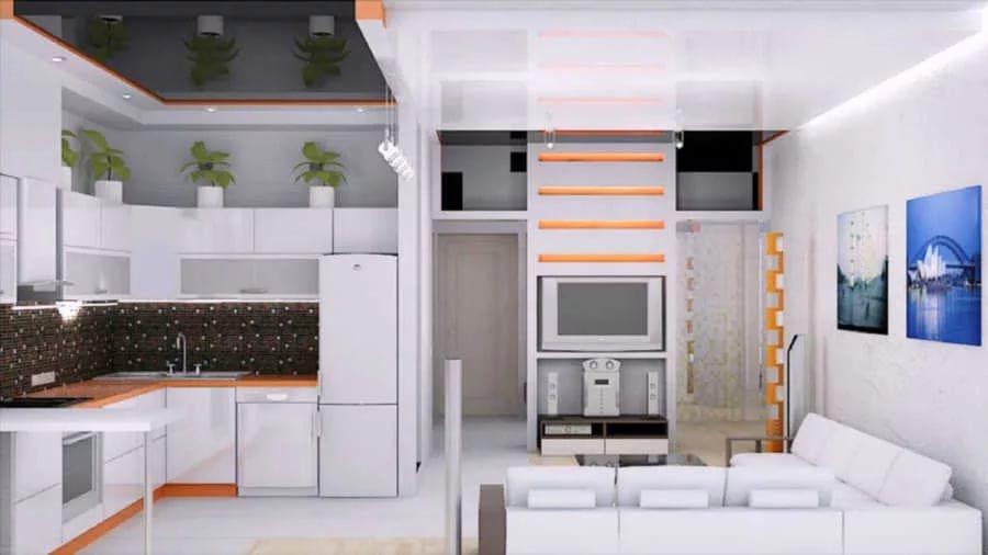 Один стиль мебели в совмещенной гостиной-кухне