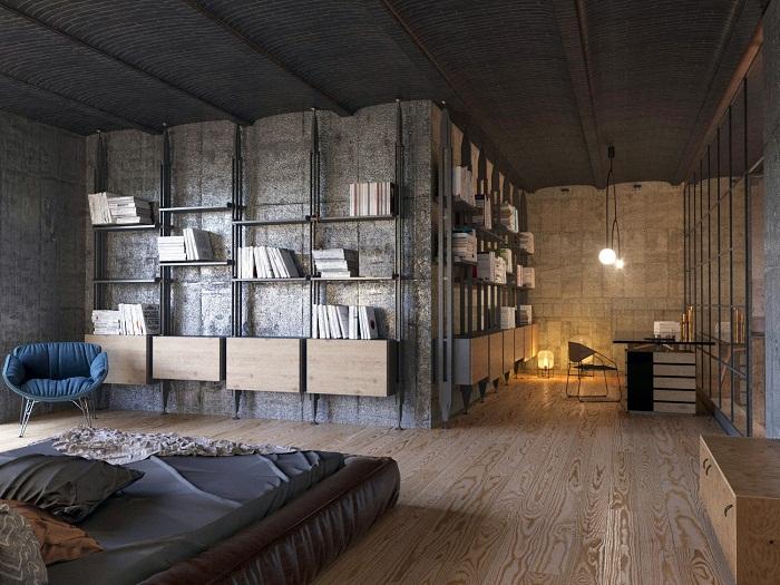 Оригинальный дизайн двухуровневой квартиры в стиле лофт