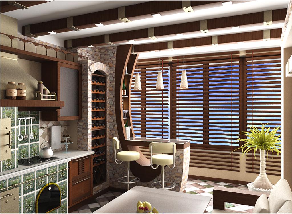 Оригинальный дизайн кухни совмещенной с балконом