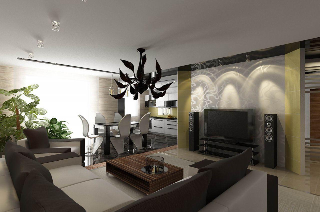 Оригинальный дизайн совмещенной гостиной-кухни