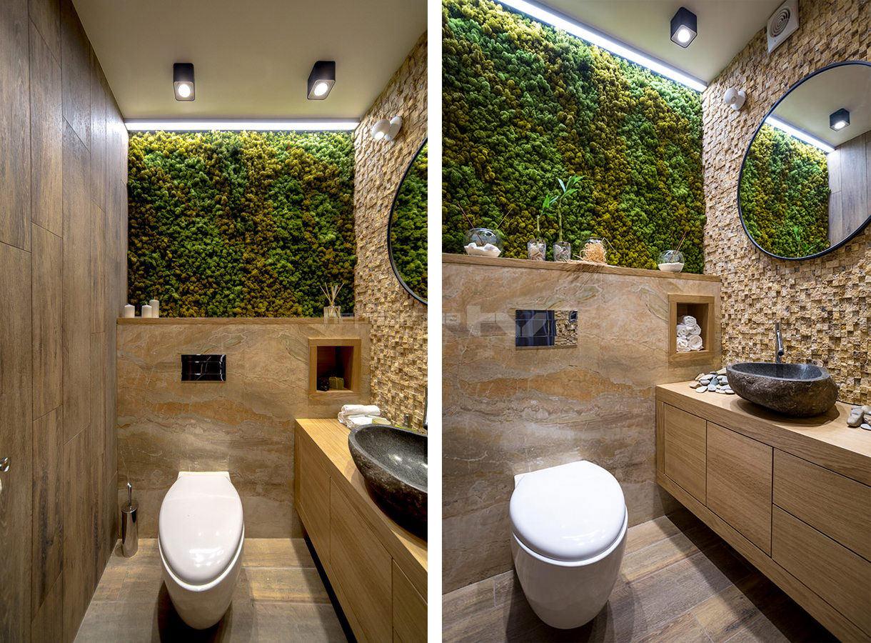Оригинальный дизайн туалета с мебелью