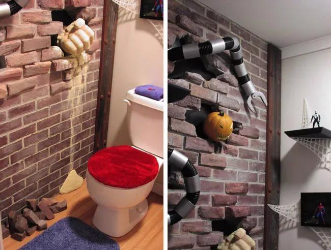 Оригинальный дизайн туалета с 3d обоями