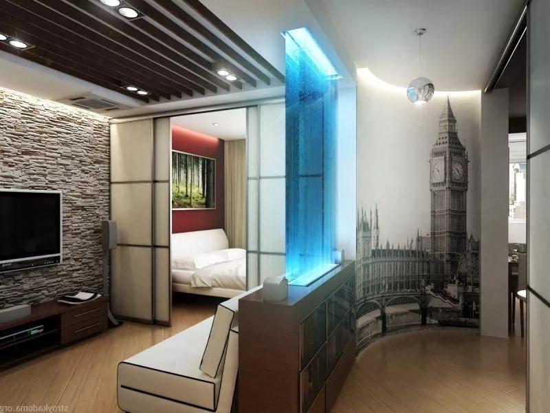 Оригинальный способ зонирования однокомнатной квартиры