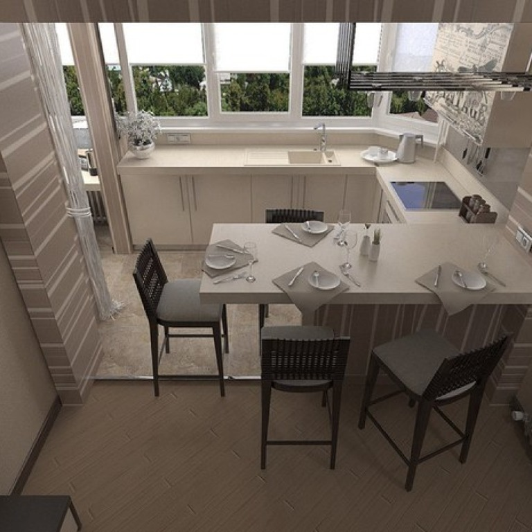 Оригинальный стол на кухне совмещенной с балконом