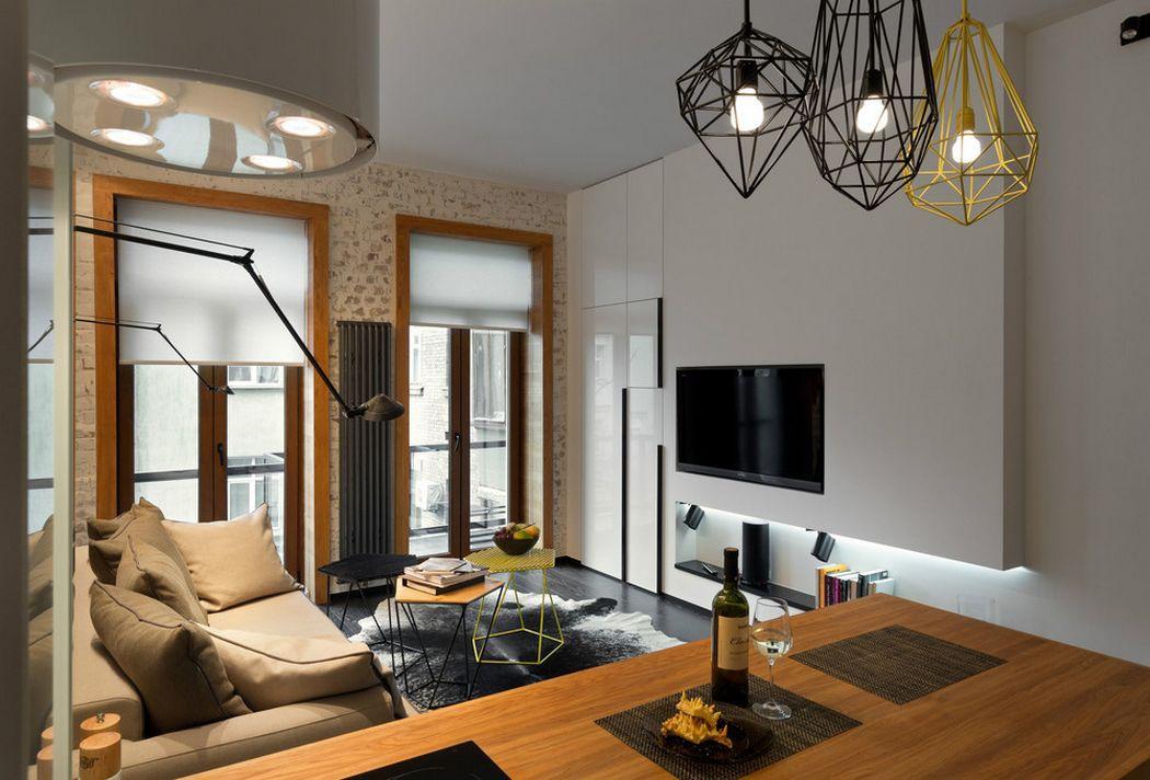 Освещение в дизайне интерьера гостиной 20 кв.м