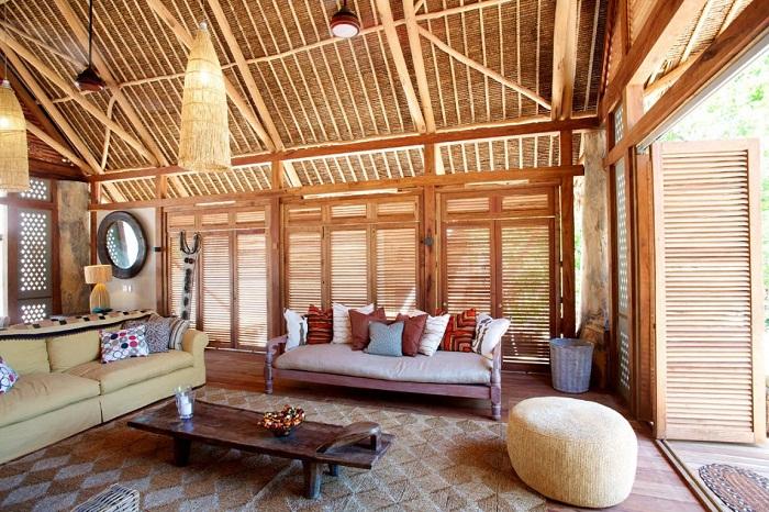 Отделка бамбуком деревянного дома