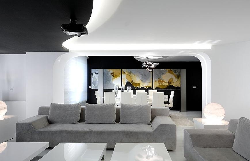 Отделка двухуровневой квартиры в стиле хай-тек