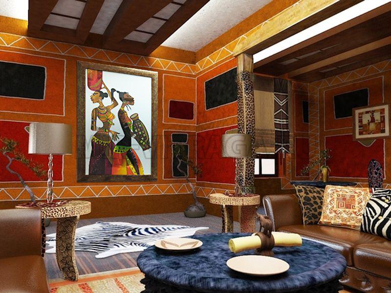 Отделка стен в африканском стиле в деревянном доме