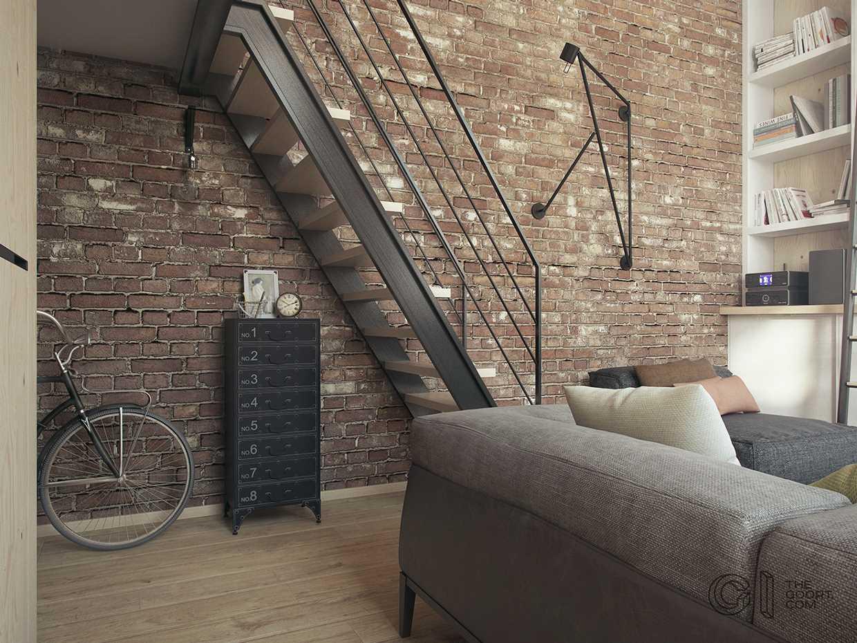 Отделка стен в двухуровневой квартире в стиле лофт
