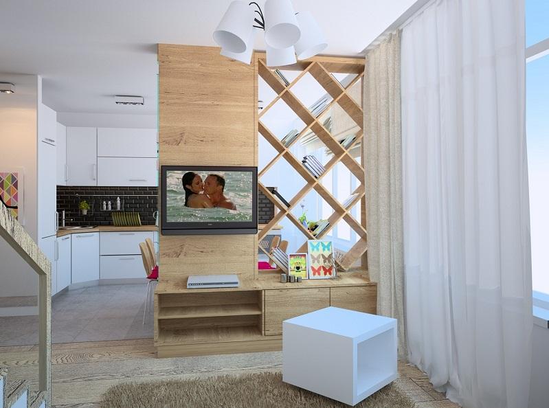 Открытые стелажи в дизайне двухуровневой квартиры