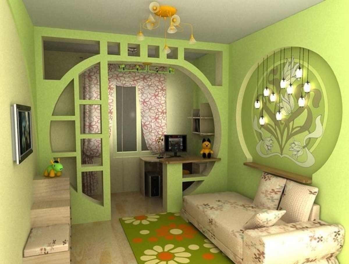 Оформление гостинной в новостройке в светло-зеленых тонах