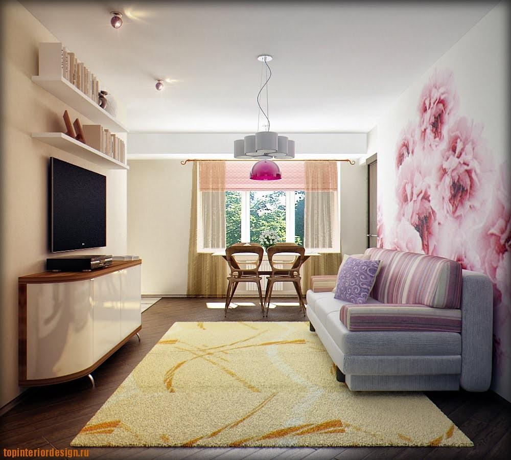 Оформление гостинной в розовых тонах