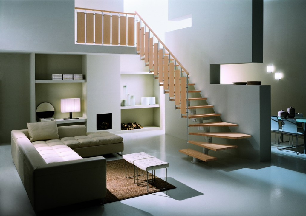 Оформление гостиной в стиле минимализм в двухуровневой квартире