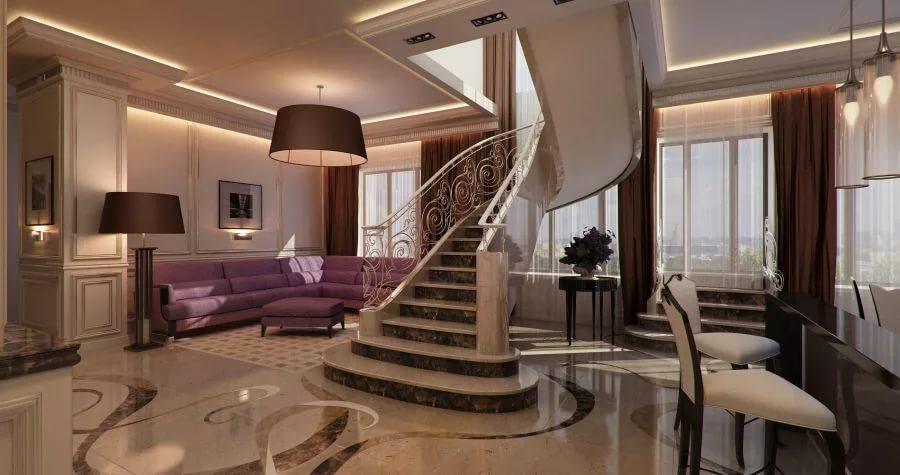 Оформление гостиной на первом этаже двухуровневой квартиры