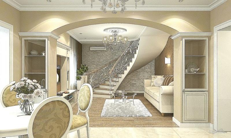 Оформление двухуровневой квартиры в белом цвете