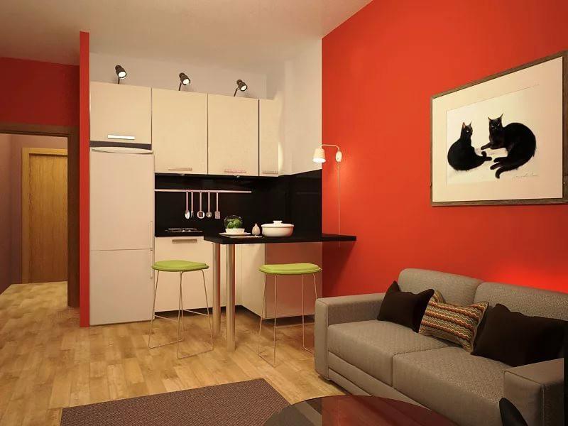 Оформление зоны кухни в квартире-студии 25 кв. м