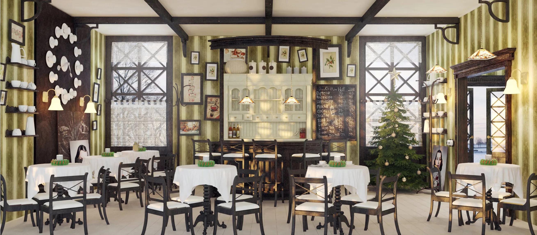 Оформление интерьера кофейни