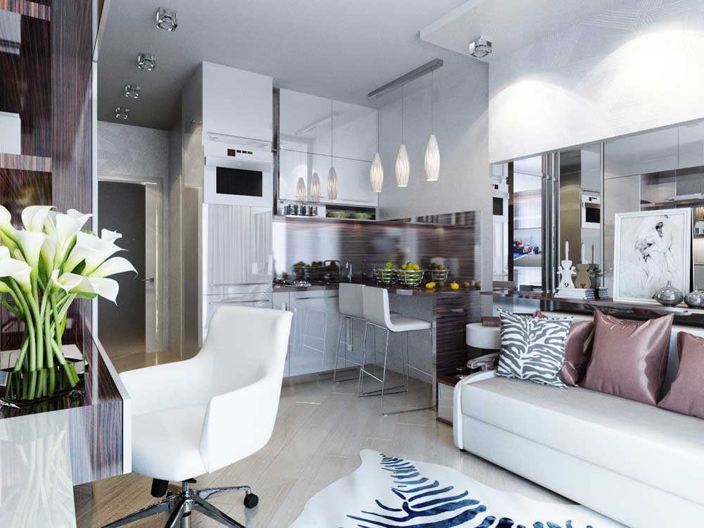 Оформление квартиры-студии 25 кв. м в светлых тонах