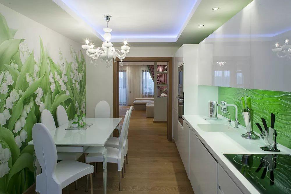 Оформление кухни в двухкомнатной квартире в бело-зеленых танах