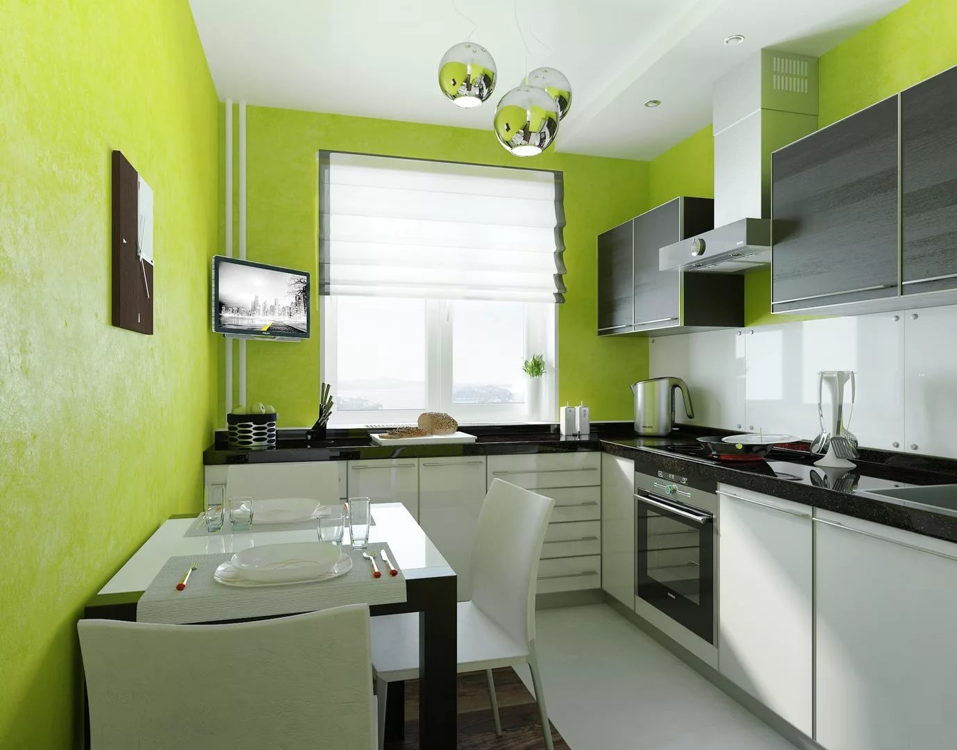 Оформление кухни в двухкомнатной квартире в зеленых тонах