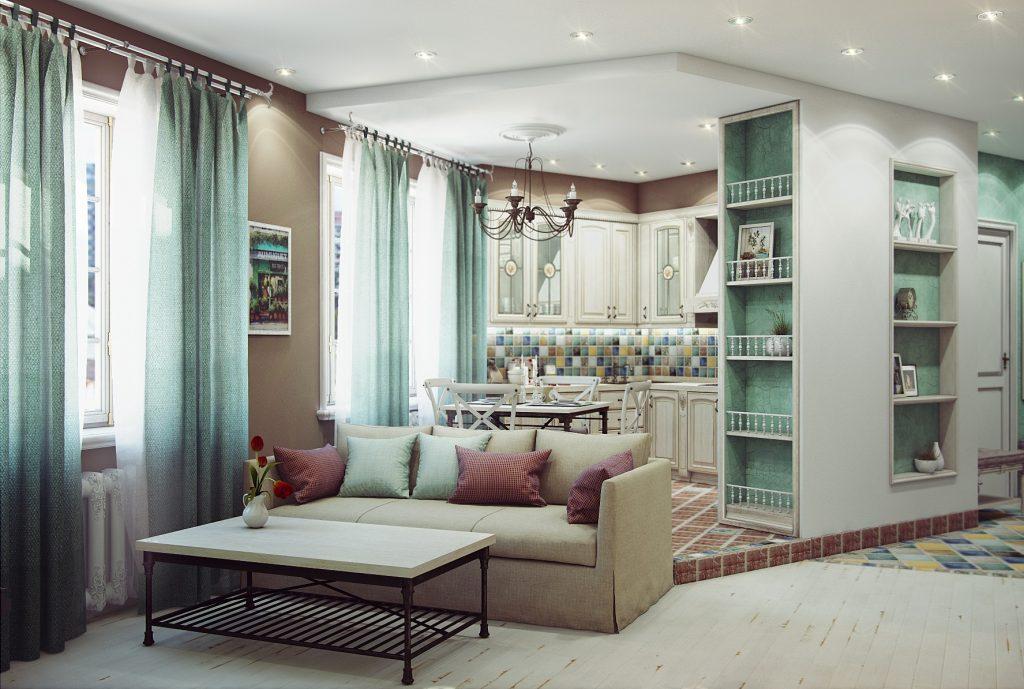 Оформление кухни объединенной с гостиной в деревенском стиле