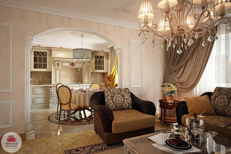 Оформление кухни объединенной с гостиной в классическом стиле