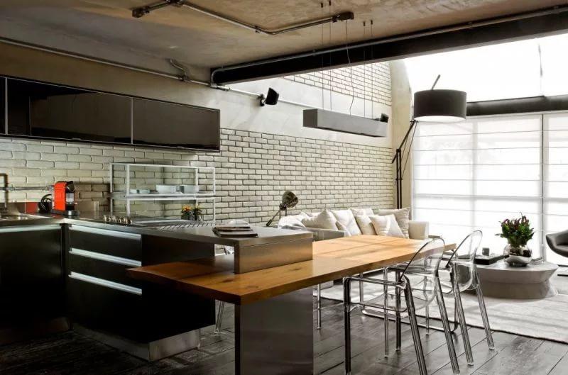 Оформление кухни объединенной с гостиной в стиле лофт