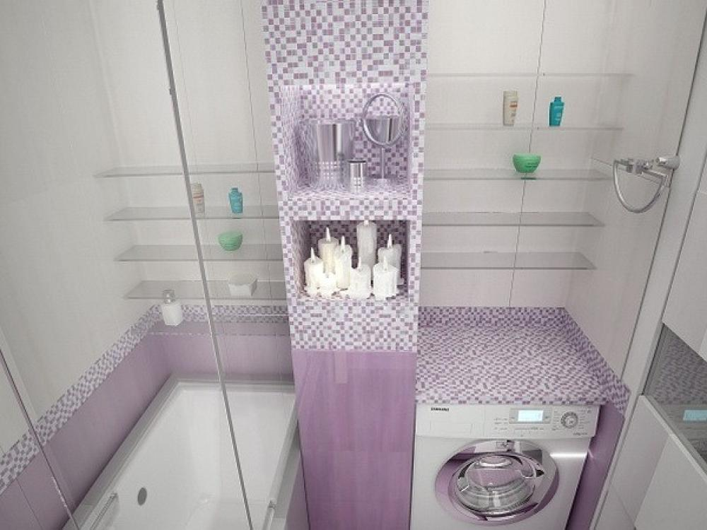 Оформление маленькой ванной в бледно-розовых тонах