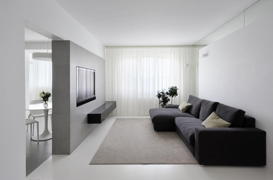 Оформление маленькой гостинной в минималистическом стиле