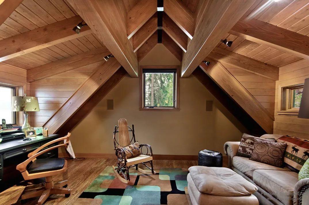 Оформление мансарды деревянного дома