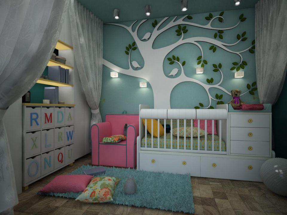 Оформление стен для ребенка в однокомнатной квартире