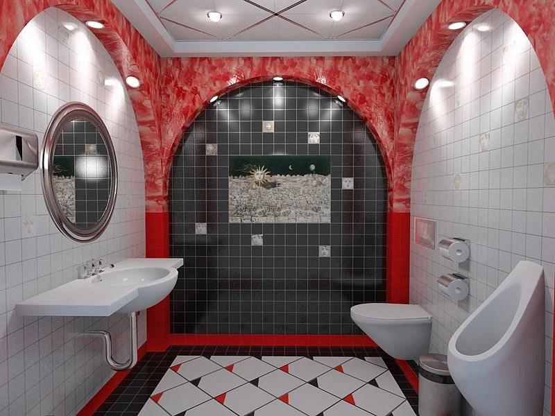 Оформление стен и пола в туалете