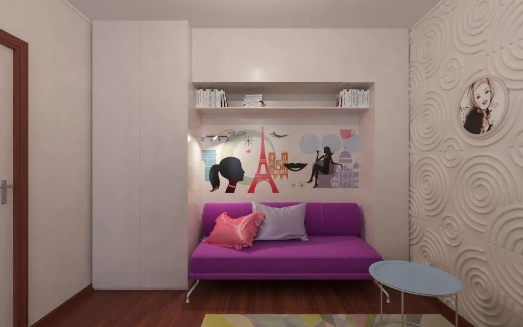 Оформление уголка для девочки в однокомнатной квартире