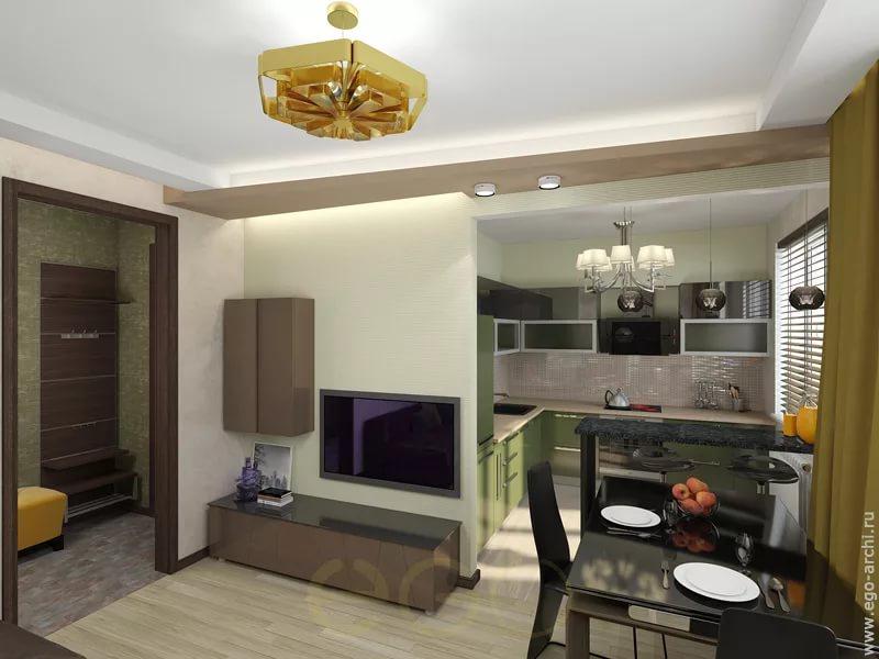 Перегородки в интерьере кухни в двухкомнатной квартире