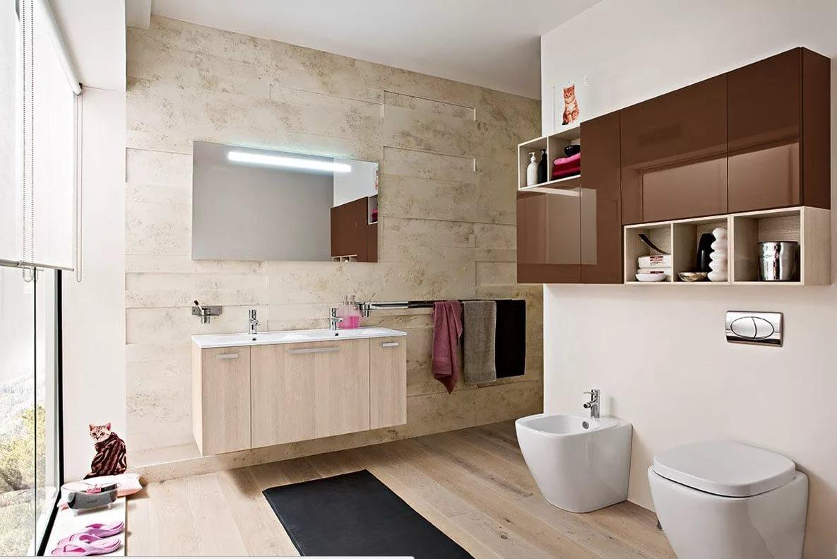 Подвесная мебель в дизайне санузла